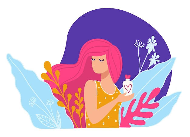 Presentation of skin care product in commercial. elegant model with long hair surrounded by floral blooming holding tube with lotion or cream, shampoo or healthy conditioner. vector in flat style