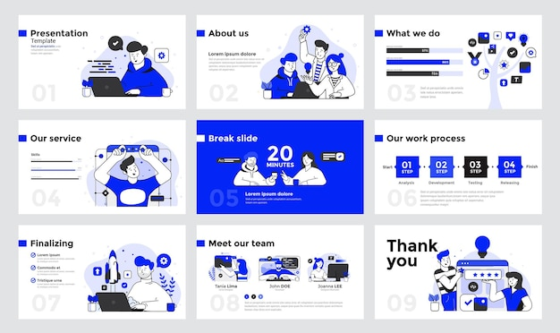 Presentation and slide design template with business people in flat line design style
