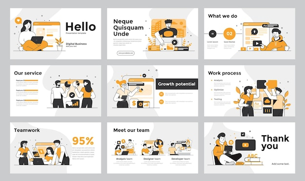 Presentation and slide design template with business people in flatdesign design style