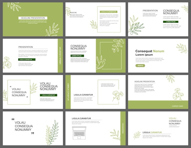 Presentation and slide layout background design green leaves template use for business keynote