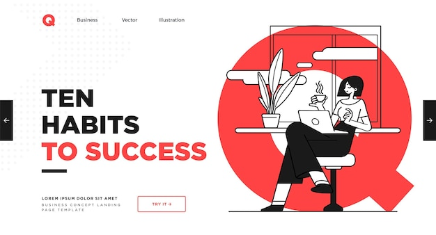 Presentation slide template or landing page website design business concept illustrations