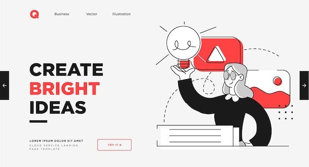 Presentation slide template or landing page website design modern flat outline style