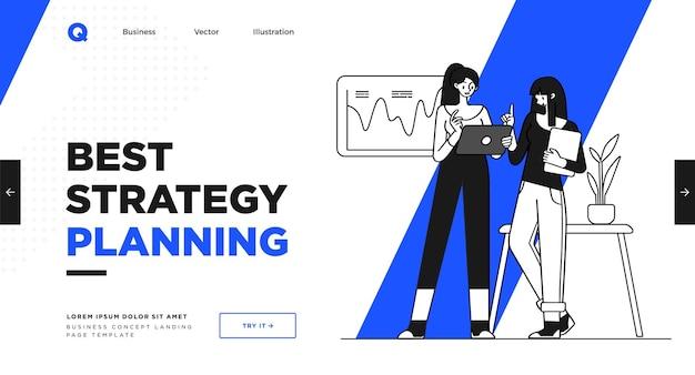 Шаблон слайда презентации или дизайн веб-сайта целевой страницы иллюстрации бизнес-концепции