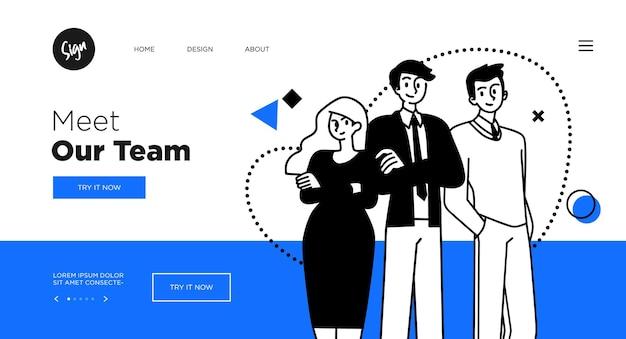 프레젠테이션 슬라이드 템플릿 또는 방문 페이지 웹 사이트 디자인 비즈니스 컨셉 일러스트레이션