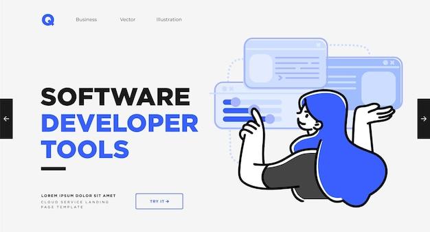 Шаблон слайда презентации или дизайн веб-сайта целевой страницы современный плоский стиль контура