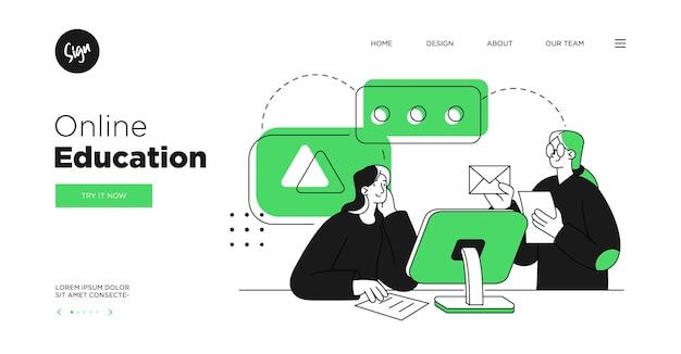 プレゼンテーションスライドテンプレートまたはランディングページのwebサイトデザインオンライン教育コース