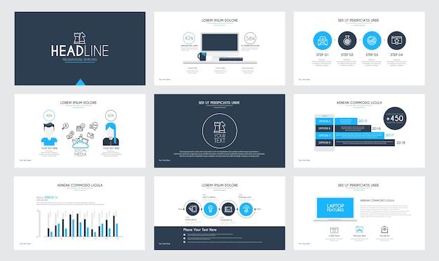 Presentation slide templates and business brochures.