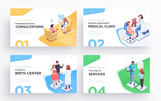 Presentation slide templates or hero banner images for websites or apps medical illustrations