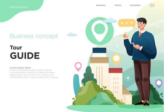 Presentation slide templates or landing pages for websites or apps business concept illustrations