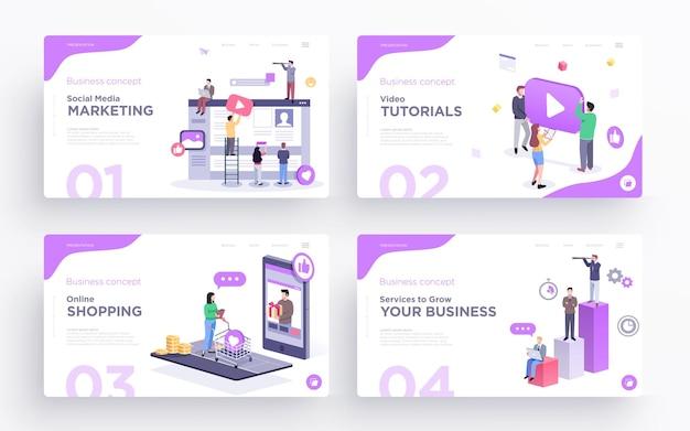 웹 사이트 또는 앱용 프레젠테이션 슬라이드 템플릿 또는 영웅 배너 이미지 비즈니스 개념