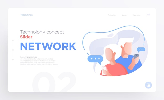 웹 사이트 또는 앱용 프레젠테이션 슬라이드 템플릿 또는 영웅 배너 이미지 커뮤니케이션 개념