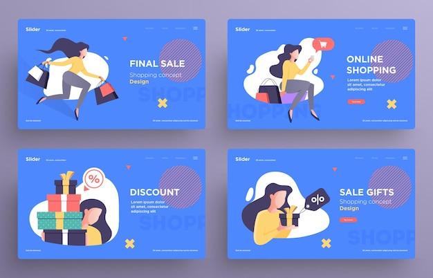 Шаблоны слайдов презентации или изображения баннеров для веб-сайтов или приложений концепция покупок