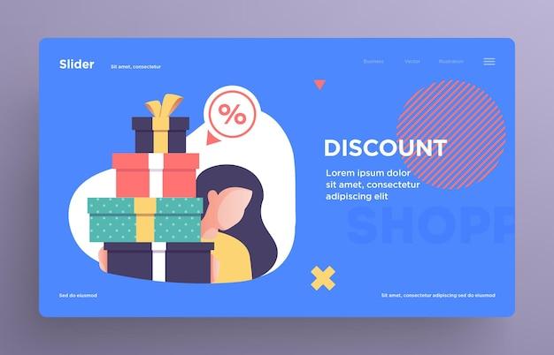 웹사이트를 위한 프레젠테이션 슬라이드 템플릿 또는 영웅 배너 이미지 쇼핑 컨셉 일러스트레이션