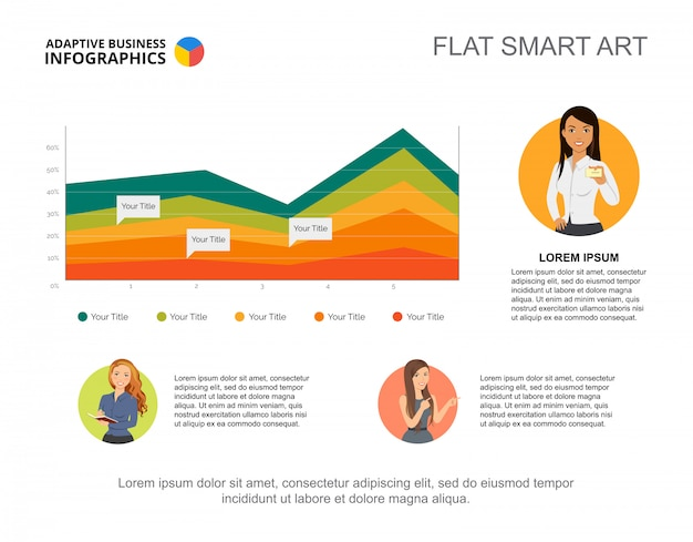 Presentation slide with area chart and woman character icons.