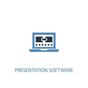 Presentation software concept 2 colored icon. simple blue element illustration. presentation software concept symbol design. can be used for web and mobile ui/ux