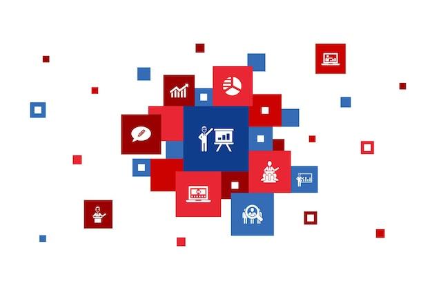 프레젠테이션 단계 픽셀 디자인 강사 주제 비즈니스 프레젠테이션 다이어그램 간단한 아이콘