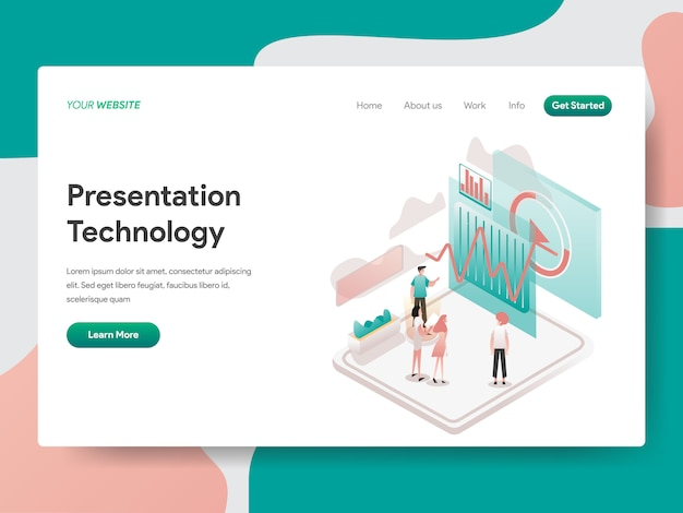 Presentation technology in isometric for website page