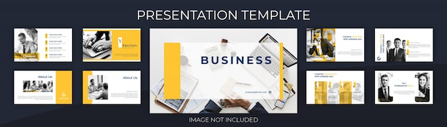 Presentation template for business proposal, with clean design background.