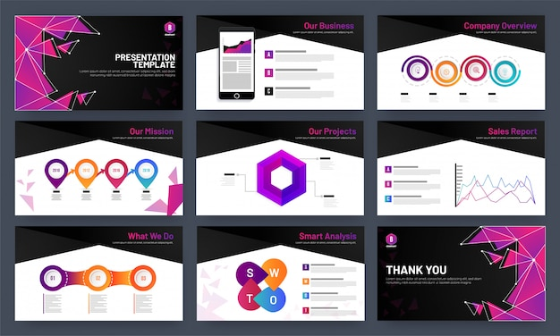 Presentation template design with infocharts and analytical data