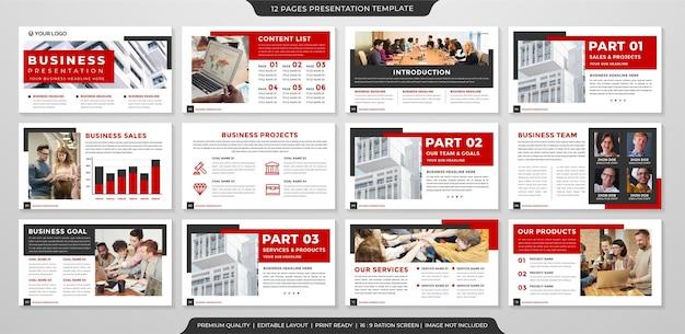 インフォグラフィックと年次報告書のためのモダンでミニマリストスタイルの使用によるプレゼンテーションテンプレートデザイン
