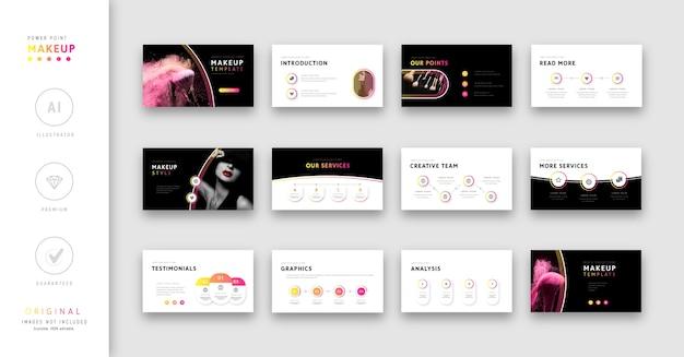 핑크와 블랙 메이크업에 관한 프리젠 테이션 템플릿.
