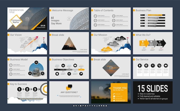 Presentation template with infographic elements