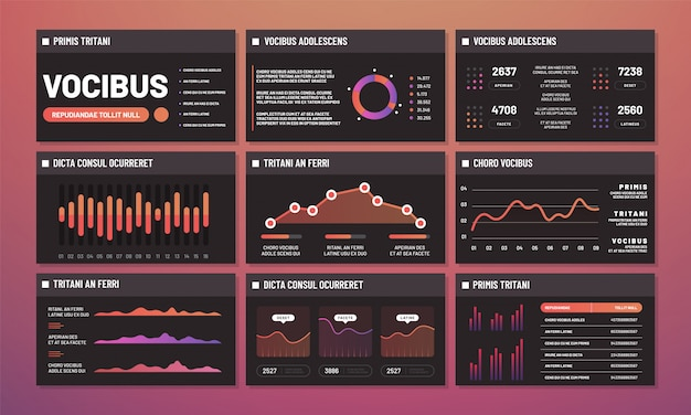 Presentation templates vector, infographic dashboards. modern infographic interface pages