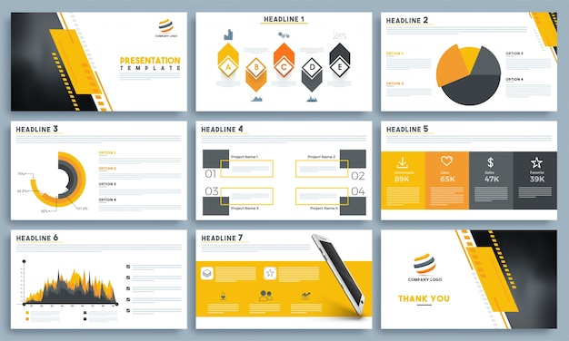 Presentation templates with infographic elements.