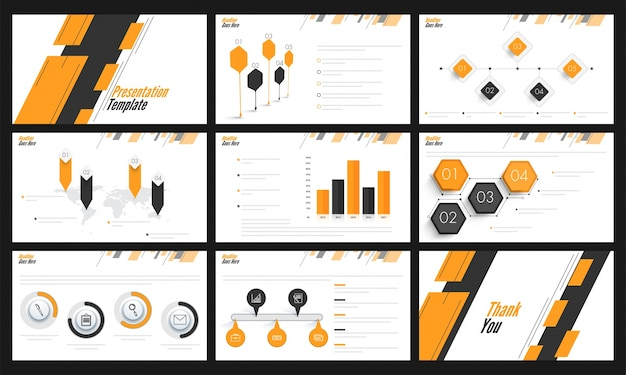 Шаблоны презентаций с оранжевой и серой инфографикой.