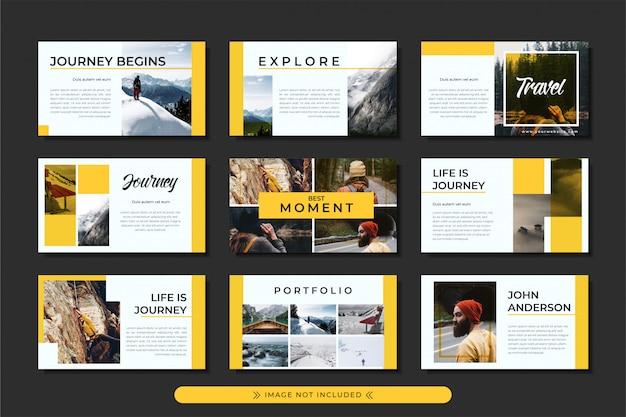 ビジネスおよび旅行代理店向けの、黄色のストライプをモチーフにした旅行および冒険のパワーポイントテンプレートのプレゼンテーション。