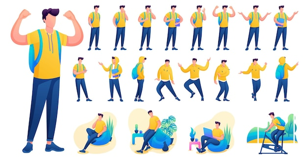 Presentation in various poses and actions character. young men. 2d flat character vector illustration n8.