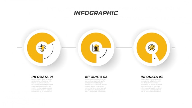 Presentations infographic process template and 3 options, steps, circle. vector creative design elements. can be used for workflow layout, info chart, web design.