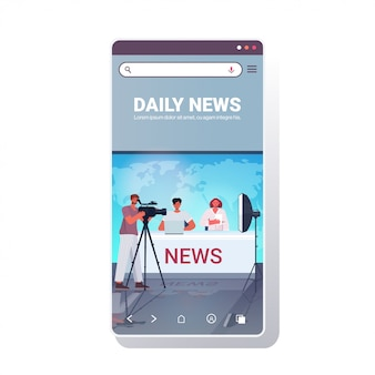 Presenters broadcasting with cameraman on television people discussing daily news at modern tv studio smartphone screen mobile app full length copy space illustration