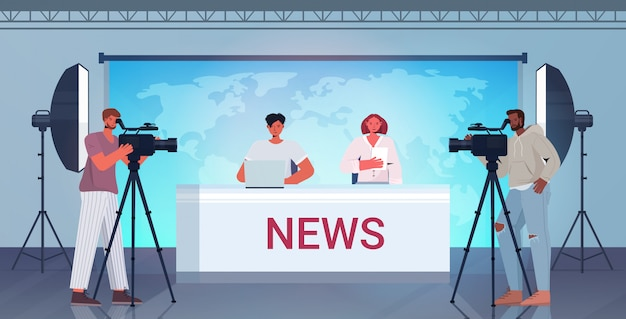 Presenters broadcasting with cameramen on television people discussing daily news at modern tv studio horizontal full length illustration