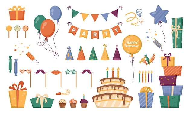 Presents in carton boxes with decorative ribbons for birthday holiday celebration and