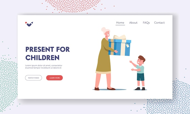 Presents for children landing page template. baby birthday celebration. granny prepared gift surprise for little grandson. toddler boy take present from grandmother. cartoon vector illustration