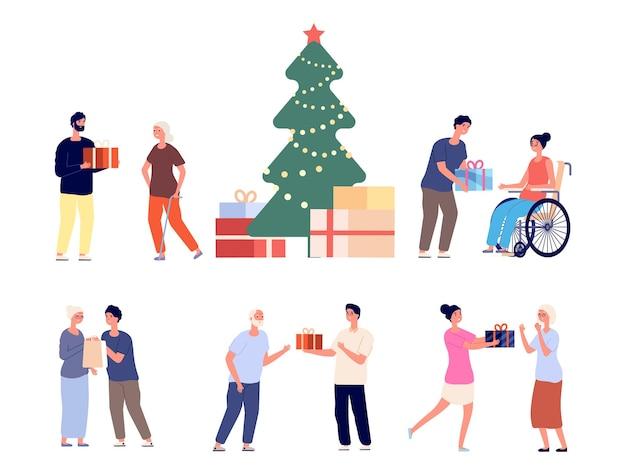 노인을 위한 선물. 요양원 젊은 자원 봉사자의 크리스마스 또는 신년 파티. 조부모 벡터 세트에 행복 한 손자 선물입니다. 할아버지와 할머니 일러스트 크리스마스 선물