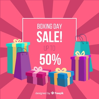 Presents group boxing day sale background