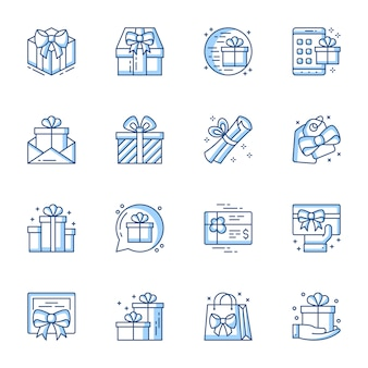 Presents linear vector icons set.