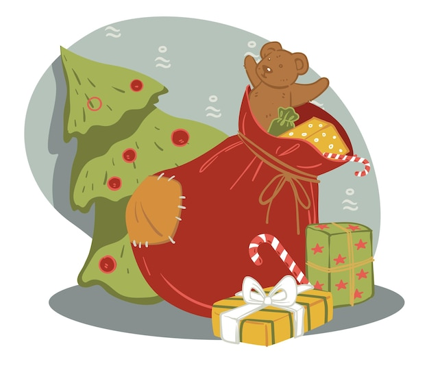 Presents in red bag, celebration of winter holidays. evergreen pine tree with baubles and bag with toys for children. box and traditional xmas candy. plush bear for new year and christmas vector