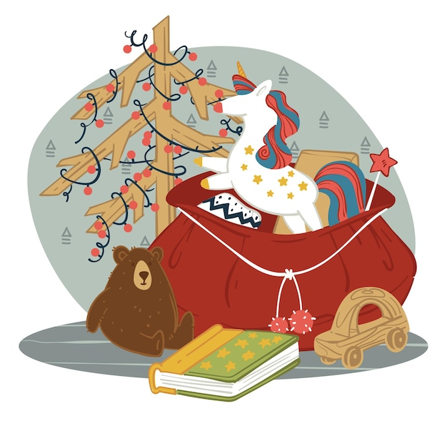 Presents in sack for children on new year. celebrating christmas winter holidays giving gifts. bag with pony or unicorn, plush bear, book and wooden car. decorative pine tree. vector in flat style