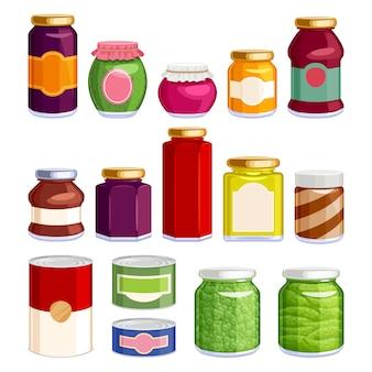 瓶や缶に保存された食品。
