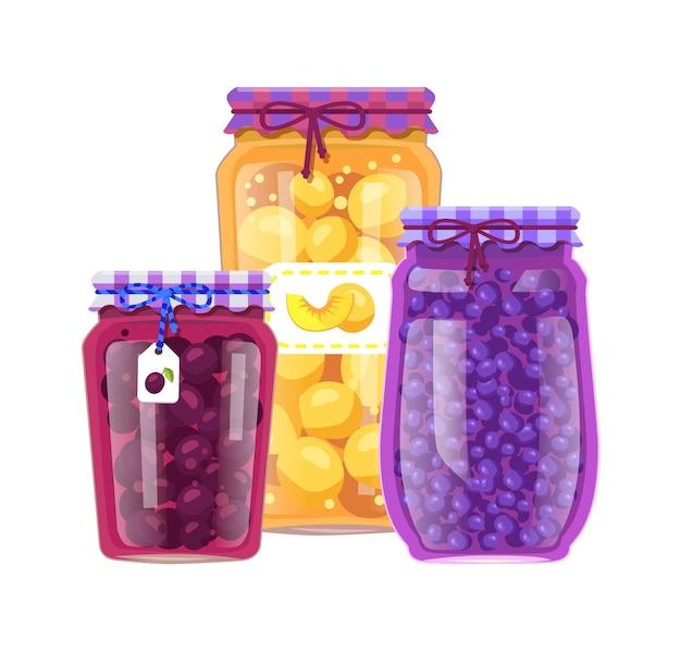 Preserved fruit in glass jars