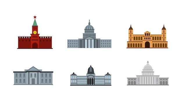 대통령 건물 아이콘 세트입니다. 대통령 건물 벡터 아이콘 컬렉션 절연의 평면 세트