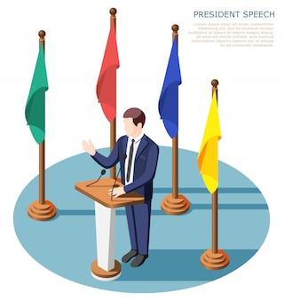 Президент возле трибуны с микрофонами во время публичного выступления в окружении разноцветных флагов изометрической композиции