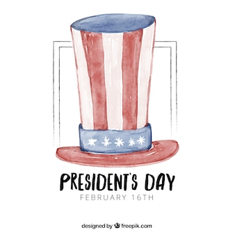 President's day background with watercolor hat