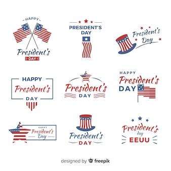 Set di badge del giorno del presidente