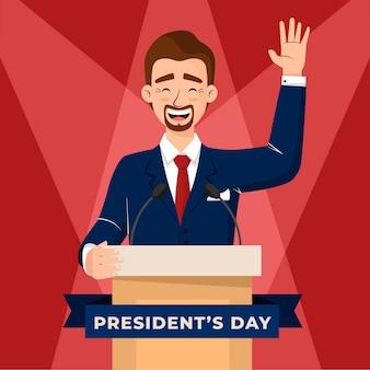 Concetto di giorno del presidente in design piatto