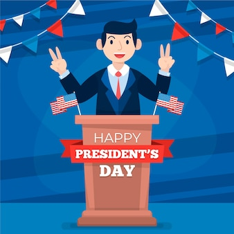 President's day concept in flat design