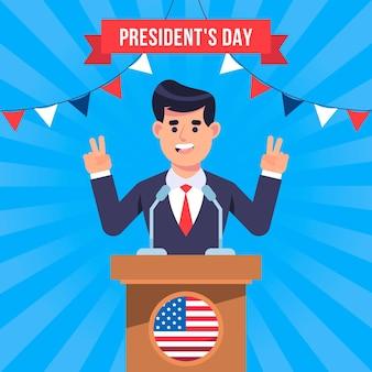 フラットデザインの大統領の日のコンセプト